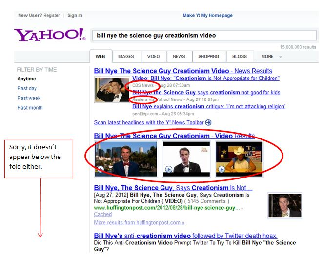 Search Quality for Bill Nye's Video on Yahoo