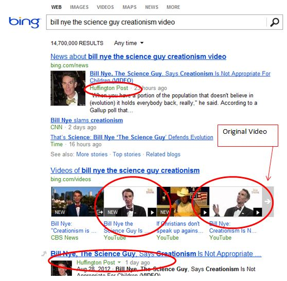 Search Quality for Bill Nye's Video on Bing