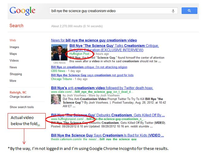 Search Quality for Bill Nye's Video on Google