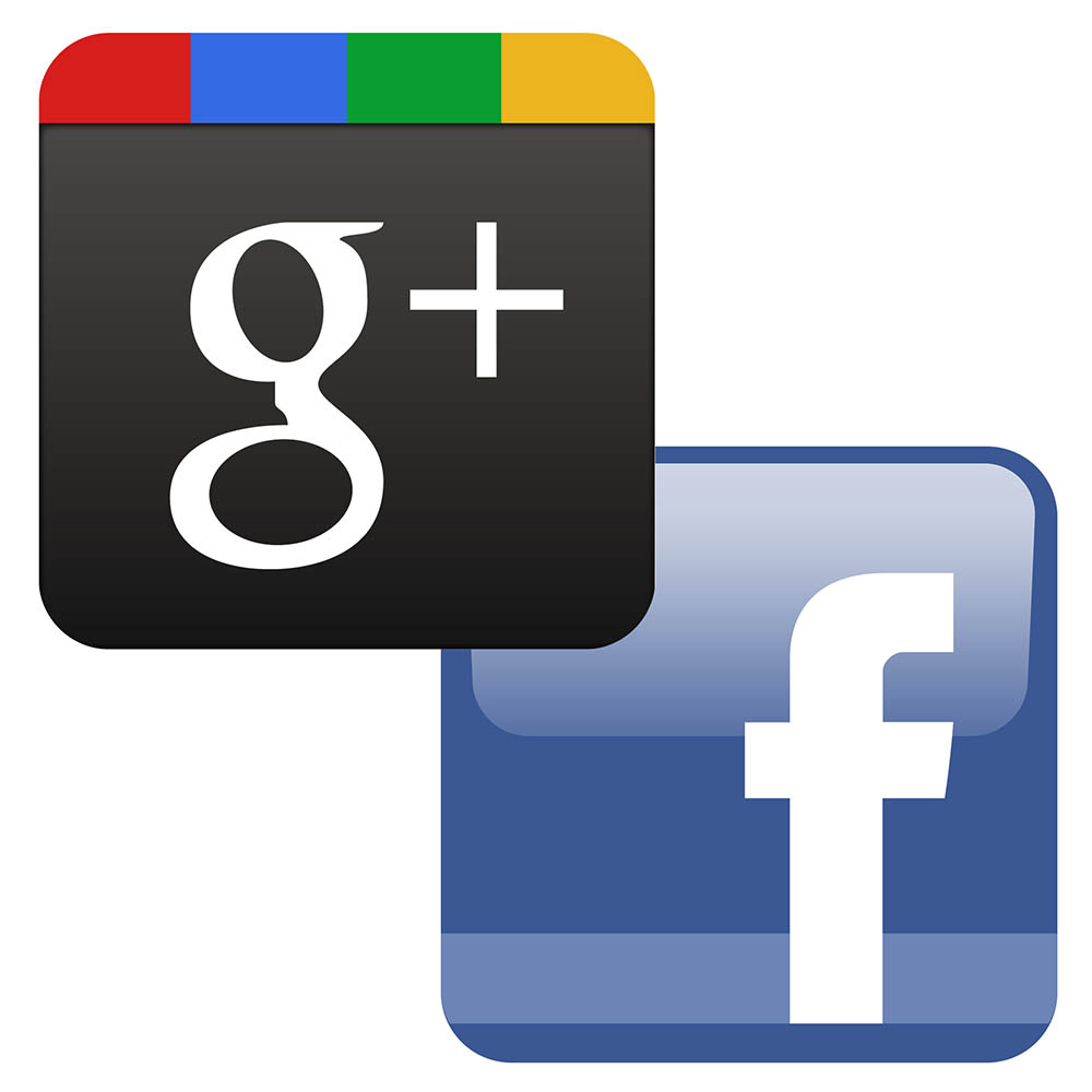 Icons for Facebook and Google Plus.